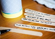 Try a conversation cup -- questions written on popsicle sticks.  Kids can make up their own questions too...silly or serious.