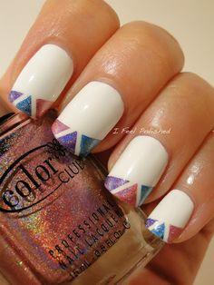 french tip holographic triangles