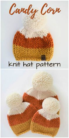 Such a sweet knit hat inspired by candy corn! An adorable hat in all sizes, perf… Such a sweet knit hat inspired by candy corn! An adorable hat in all sizes, perfect for fall! Check out this hat along with other fall hat finds! Vogue Knitting, Baby Hats Knitting, Knitting For Kids, Round Loom Knitting, Knitted Hats Kids, Candy Corn, Fall Candy, Knitting Patterns Free, Crochet Patterns