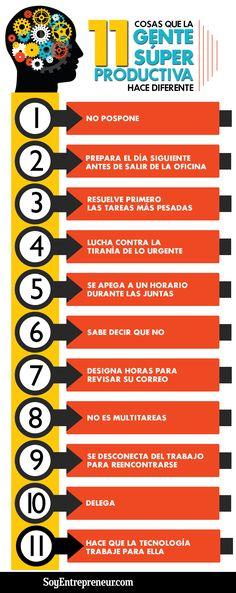 Valora este post Hola: Una infografía con11 cosas que la gente Super Productiva hace diferente. Vía Un saludo  Anuncios Relacionado