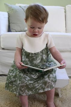 Free pattern 18mo- garden party dress, curved yoke, back button. also includes pattern for peter pan collar & long sleeves.