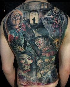 Horror Movies by Casi at Heart & Arrow Tattoo in Shropshire, England. Halloween Tattoo, Clown Tattoo, Backpiece Tattoo, Tattoo Henna, Sick Tattoo, Shoe Tattoos, Body Art Tattoos, Tattoo Drawings, Sleeve Tattoos