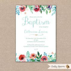 Baptism Invitation Girls Baby Babies Childrens by ChubbySparrow