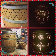 Wine Barrel Luminary with Hearts and Crosses