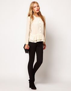 Enlarge ASOS Blouse With Peplum And Crochet Lace Trim