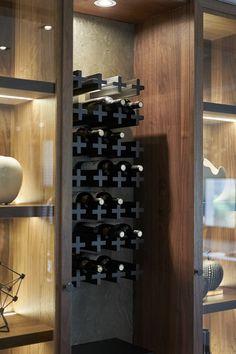 Wine storage above wine cooler, with open storage lit for decor or featured kitchen items Wine Design, Küchen Design, House Design, Wine Shelves, Wine Storage, Storage Rack, Kitchen Storage, Storage Ideas, Wine Cellar Racks