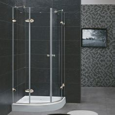 """VIGO 36 x 36 Frameless Neo-Round 1/4"""" Clear Shower Enclosure with Base   Overstock.com Shopping - The Best Deals on Shower Doors"""