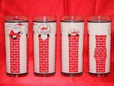 Vintage Retro Christmas Santa Tumbler Glasses Set of 8