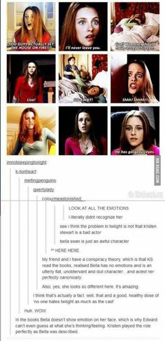 NOT TRUE.Read the books and you'll see. She gets angryand she gets upset and that is also why Edward gets confused because he does not know why.
