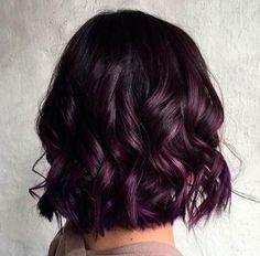 20 Dip Dye Hair Ideas - Delight for All! Wavy Black Bob With Purple Balayage Purple Balayage, Bright Hair Highlights, Short Balayage, Peekaboo Highlights, Spring Hairstyles, Bob Hairstyles, Black Hairstyles, Braided Hairstyles, Toddler Hairstyles