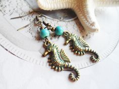 Patina seahorse earrings with turquoise beads, vintage and nature inspired nature jewelry, Selma Dreams bohemian jewellery gifts by SelmaDreams on Etsy