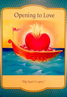 "Daily Angel Oracle Card: Opening To Love, from the Gateway Oracle Card deck, by Denise Linn Opening To Love: ""My heart is open"" Card meaning: Love is on its way. The more you open to love, the more. Affirmations, Angel Guide, Oracle Tarot, Deck Of Cards, Card Deck, Angel Cards, Daily Meditation, Spirit Guides, Card Reading"
