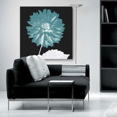 Chrysanthemum Teal Invert Square  Teal, white dark teal grey canvas art print of chrysanthemum in a Pop Art style. Original photograph taken by Lucy Art graphic artist John Goddard. Floral canvas art prints. EXCLUSIVE TO LUCY ART.