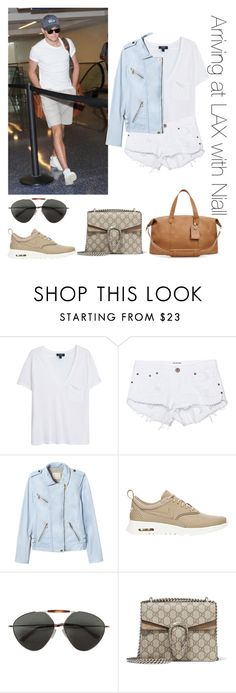 """""""Arriving at LAX with Niall"""" by thetrendpear-eleanor ❤ liked on Polyvore featuring MANGO, One Teaspoon, Rebecca Taylor, NIKE, Valentino and Gucci"""