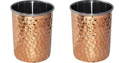 Hammered Copper Water Glasses Double Wall Tumbler Drinkware Accessories #Buddha4all