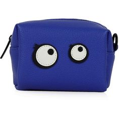 TOPSHOP Cartoon Eyes Mini Make-Up Bag (£12) ❤ liked on Polyvore featuring beauty products, beauty accessories, bags & cases, bags, beauty, accessories, blue, topshop, filler and purse makeup bag