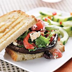 This mushroom sandwich comes topped with a luscious Greek-style salad. Make it a meal: Serve with cucumber spears and a glass of Firestone Gew�rztraminer.