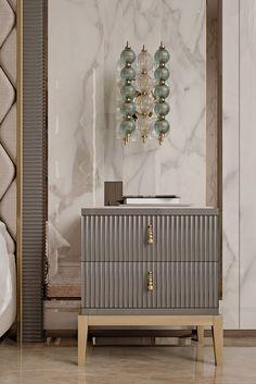 Gray textured nightstand design for the modern bedroom | www.bocadolobo.com #bocadolobo #luxuryfurniture #bedroom #exclusivedesign #interiodesign #designideas #nightstandideas #bedroomdesign #modernnightstands #nightstands