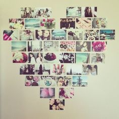 Photo heart collage - great idea for uni room wall art, from Phillips-Barton Phillips-Barton Phillips-Barton Hornsey our student Dream Room winner. Uni Bedroom, Quirky Bedroom, Bedroom Wall, Bedroom Yellow, Dream Bedroom, Arty Bedroom, Student Bedroom, Bedroom Crafts, Pink Room