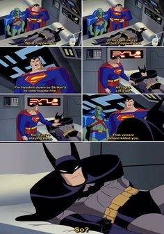 I love Batman! He doesn't freaking care he almost died there's people to take down!