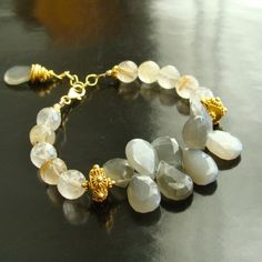 Darla Bracelet II - Rutilated Quartz And Gray Moonstone Briolettes