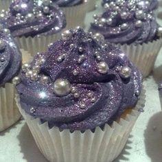 Mega glittery cupcakes mauve and silver