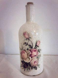 Resultado de imagem para how to fabric decoupage wine bottle Glass Bottle Crafts, Wine Bottle Art, Painted Wine Bottles, Diy Bottle, Decoupage Glass, Decoupage Vintage, Jar Art, Altered Bottles, Bottle Painting