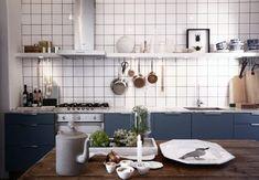 Love this kitchen; white backsplash, hint of gray blue, farm table, open shelving Kitchen Shelves, Kitchen Backsplash, Kitchen Dining, Kitchen White, Dining Room, Kitchen Interior, Interior Design Living Room, Kitchen Stories, Kitchens