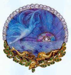 Stunning Art Nouveau Marcus & Co Boulder Opal carving