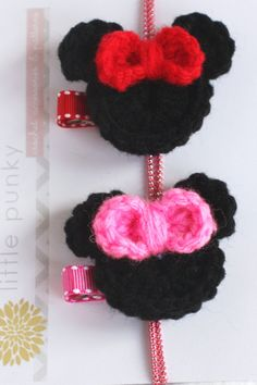 Crochet Minnie Mouse Inspired Hair Clip  Red Bow by littlepunky, $5.00
