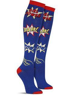 Crazy novelty Girl Power knee high socks for women, in imperial blue