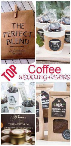 Wedding Favors! The best coffee wedding favors! Send your guests home with gifts they will love! From goodie bags, classy, useful, inexpensive, DIY, creative, unique, elegant and tons more ideas. Amazing ideas that friends and family will want from any wedding theme that wants to use coffee as a favor.