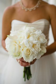 all white #wedding #bouquet | Spindle Photography