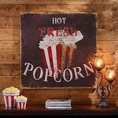 Retro Hang Sign LED Light Popcorn Cinema Crisp Art Ti Home Shop Movie Decor Wall