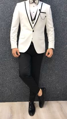 Collection: Spring – Summer 2019 Product: White SlimFit Tuxedo Color Code: White Size: Suit satin fabric, lycra Machine Washable: No Fitting: Slim-fit Package Include: Jacket, Vest, Pants Only Gifts: Shirt, Chain and Bow Tie Indian Men Fashion, Mens Fashion Suits, Mens Suits, Suit Men, Groomsmen Suits, Slim Fit Tuxedo, Tuxedo For Men, White Tuxedo, Wedding Dress Men