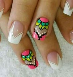 New simple manicure mandalas 51 ideas Nails French Manicure Acrylic Nails, French Nail Art, French Tip Nails, French Manicures, Stylish Nails, Trendy Nails, Crazy Nails, Manicure E Pedicure, Fabulous Nails