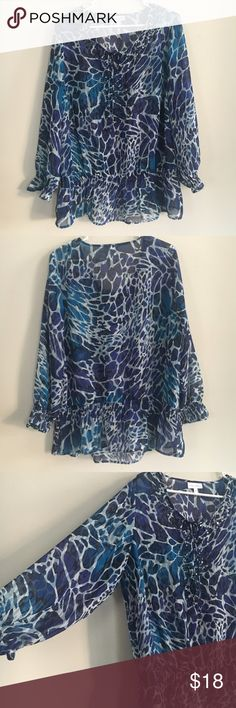 Blue sheer to Like new. Airy flowy perfect for spring and summer. Picture of detailing in last picture. Fashion Bug Tops