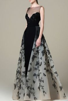 Saiid Kobeisy - Embroidered Illusion Bateau A-line Gown Evening Dresses, Prom Dresses, Formal Dresses, Belle Silhouette, A Line Gown, Mode Style, Beautiful Gowns, Dress Up, Gown Dress
