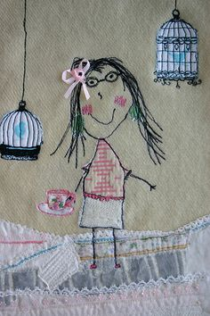 freehand machine embroidery and collage using a little sketch drawn by my daughter with a few extras added in.