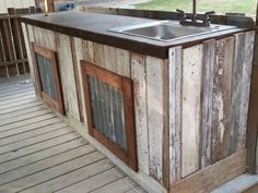 Ways To Choose New Cooking Area Countertops When Kitchen Renovation – Outdoor Kitchen Designs Outdoor Kitchen Countertops, Concrete Countertops, Kitchen Tiles, Barn Wood Cabinets, New Cooking, Outdoor Kitchen Design, Stained Concrete, Reclaimed Barn Wood, Outdoor Areas