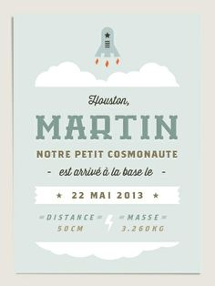 Faire part de naissance original Babynaute (www.dioton.fr). Birth announcement for baby space conquerors.