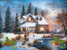 Merry Christmas with love from Me to You Christmas Scenes, Christmas Villages, Noel Christmas, Winter Christmas, Vintage Christmas, Christmas Things, Winter Gif, Winter Scenery, Winter Pictures