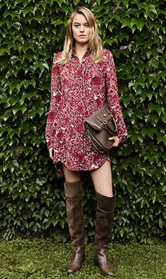 Tory Burch FALL 2014 — Look 7: Cora Dress, Jeweled Drop Earring Cuff, Robinson Pebbled Fold-over Messenger, Simone Over-the-knee Boot