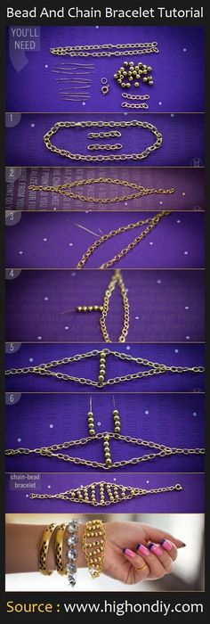 Bead And Chain Bracelet DIY