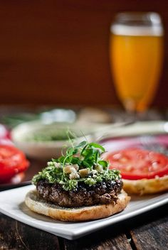 Bison Burgers with Smoked Blue Cheese