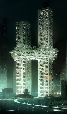 This computer-generated image by the Yonhap news agency on Dec. 11 shows connected towers designed by Dutch architects MVRDV. A South Korean developer may alter the design after outcry over its apparent likeness to the Sept. 11 attacks on the World Trade Center.