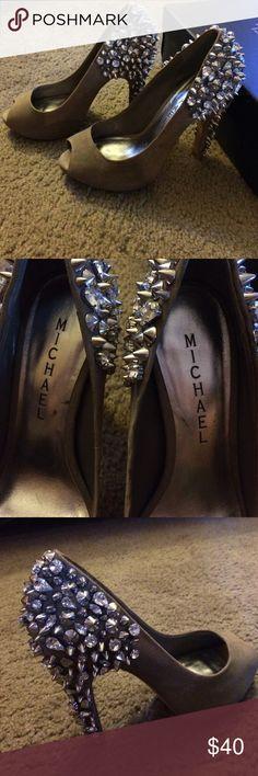 Michael peep toe heels Studded Michael peep toe taupe heels. Michael Lorimer  Shoes Heels