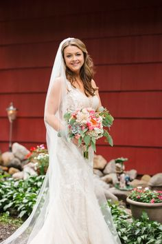 A full length veil and a hearty bouquet of succulents and bright pinks adds all the drama for this Lake Geneva bride, photo by Front Room Studios Bride Photography, Lake Geneva, Wonderful Time, Bright Pink, Veil, Studios, Succulents, Drama, Bouquet