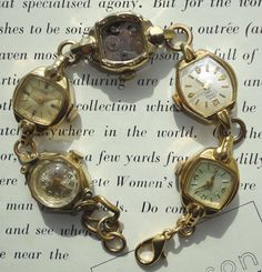 Recycled Vintage Watches Bracelet, Antique Jewellery Assemblage, Unusual, Eco Friendly