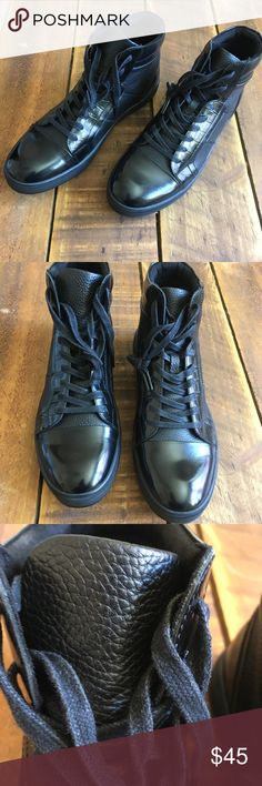 6b93c57bdb46 Kenneth Cole Silver Technology Hightop Sneaker Kenneth Cole silver  technology pebbled leather and Patton black high